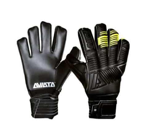 Aviata.zwarte.keepershandschoenen.zwart.geel.